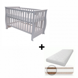 Patut pentru bebelusi, 120x60 cm, Dona Lux Grey + Saltea Cocos