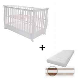 Patut pentru bebelusi, cu sertar, 120x60 cm, Dona Lux white + Saltea Cocos