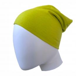 Caciula subtire dublata din lana merinos Lemon Green
