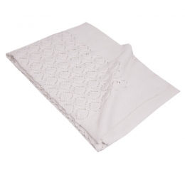 Paturica din Bumbac, Eko, 80x100 cm, Tricotata, White