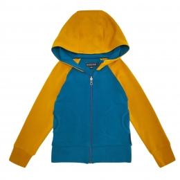 Cardigan din lana merinos extrafina colour block Saffron/ Blue