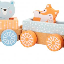 Trenulet din lemn cu figurine - culori pastel
