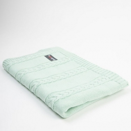 Paturica tricotata pentru bebelusi 90x65 cm, Turqouise