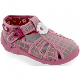 Sandale Fetite, Roz Gri, inchidere catarama, marca RenBut