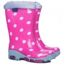 Cizme de cauciuc Roz cu buline Albe, Antibacteriene, marca Muflon