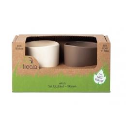Set 2 pahare, eKoala, BIOplastic, White/Brown