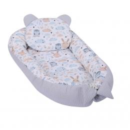 Baby Nest Multifunctional cu doua tipuri de material, Velvet Grey Animals