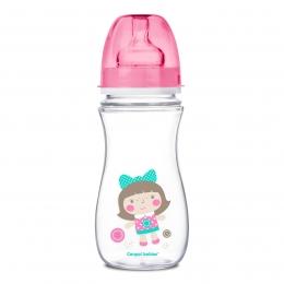 "Biberon anticolici gat larg, Canpol babies, polipropilena, 300 ml, ""Toys"", roz"