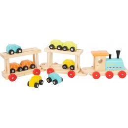 Trenul cu 8 masinute din lemn