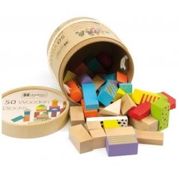 50 cuburi colorate din lemn in galetusa
