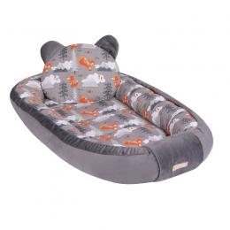Baby Nest Multifunctional cu doua tipuri de material, Velur Forest Fox