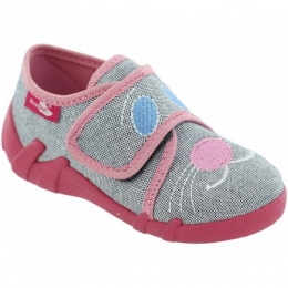 Pantofi Fete, Rosu Gri , inchidere velcro, marca RenBut