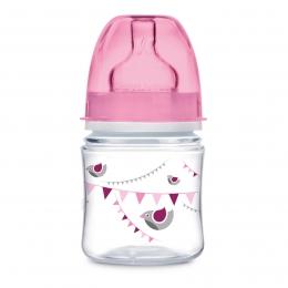 "Biberon anticolici gat larg, Canpol babies, polipropilena, 120 ml, ""Let's Celebrate"", roz"