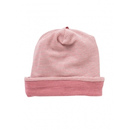 Caciula pentru copii, din dublu strat de lana si matase, roz