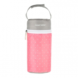 Izolator din material moale pentru biberoane, Canpol babies, imprimat buline, roz/gri