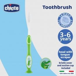 Periuta pentru dinti de lapte Chicco, 3-6 ani, verde