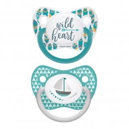 """Set 2 suzete """"Wild Nature + Let's Celebrate"""" cu tetina ortodontica silicon, Canpol babies, fara BPA, 6-18 luni, turcoaz"""