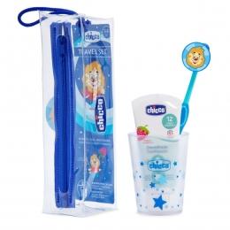 Set igiena orala, albastru, 36 luni+ (pasta dinti capsuni, periuta dinti, pahar si etui)