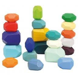 Set 21 pietre din lemn, joc de stivuit si de echilibru
