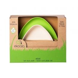 Set 2 farfurii, eKoala, BIOplastic, White/Green