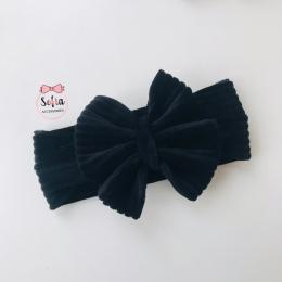 Caroline Black Bow - Bentiță neagră din bumbac jersey