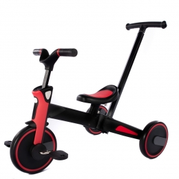 Tricicleta Uonibaby 4 in1, Pliabila si cu maner de impingere - Red