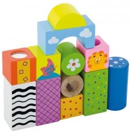 Cuburi de construit cu sunete si animalute, pentru dezvoltarea senzoriala, set de 12