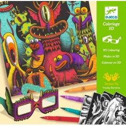 Atelier de colorat 3D Djeco, Monstruleti simpatici
