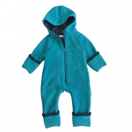 Overall partial dublat din lana fiarta Turquoise