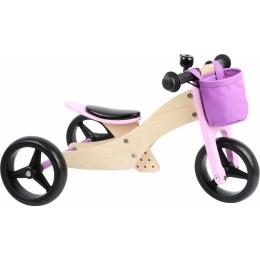 2 in 1 Tricicleta si Bicicleta de echilibru din lemn, Mov
