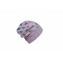 Caciula copii Bunny Pink din bumbac elastic in strat dublu cu bordura