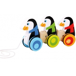 Jucarie de tras din lemn Pinguinii veseli