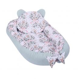 Baby Nest Multifunctional cu doua tipuri de material, Velvet Bambi