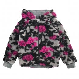 Jacheta dublata din lana fiarta Grey Flower