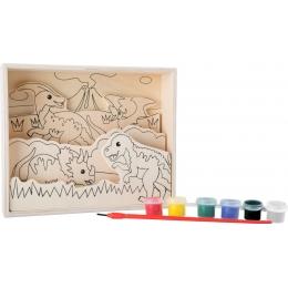 Coloreaza dinozaurii, set de pictura din lemn