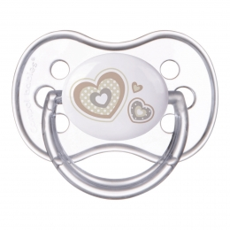 "Suzeta ""Newborn Baby"" cu tetina rotunda silicon, Canpol babies, fara BPA, 0-6 luni, bej"