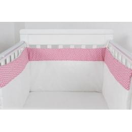 """Protectie jumatate patut bebe cu roz 60 x 120 cm """"Inimioare"""""""
