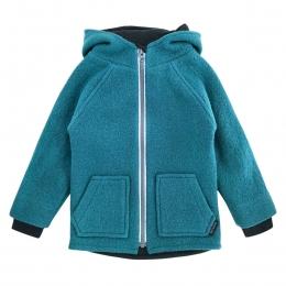 Jacheta dublata din lana fiarta Teal Turquoise