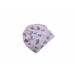 Caciula copii Bunny Pink din bumbac elastic in strat dublu