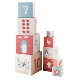 Turn de cuburi  cu cifre, litere, animale si cantitati