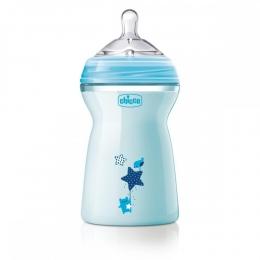 Biberon Chicco Natural Feeling, albastru, 330ml, t.s., 6luni+, 0%BPA