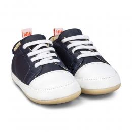 Pantofi Baietei Bibi Afeto Joy Naval/Alb cu Siret Elastic
