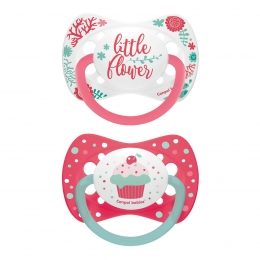 "Set 2 suzete ""Wild Nature + Cupcake"" cu tetina simetrica silicon, Canpol babies, fara BPA, 6-18 luni, roz"