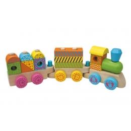 Trenuletul colorat din lemn cu 15 cuburi si roti cu animalute