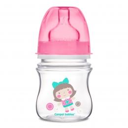 "Biberon anticolici gat larg, Canpol babies, polipropilena, 120 ml, ""Toys"", roz"
