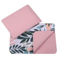 Set paturica si perna pentru bebe, bumbac si velur, Jungle Pink
