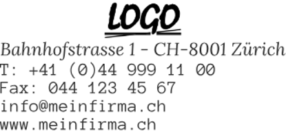 Bild von Vorlage Firmenstempel 8 Zeilen Logo zentriert