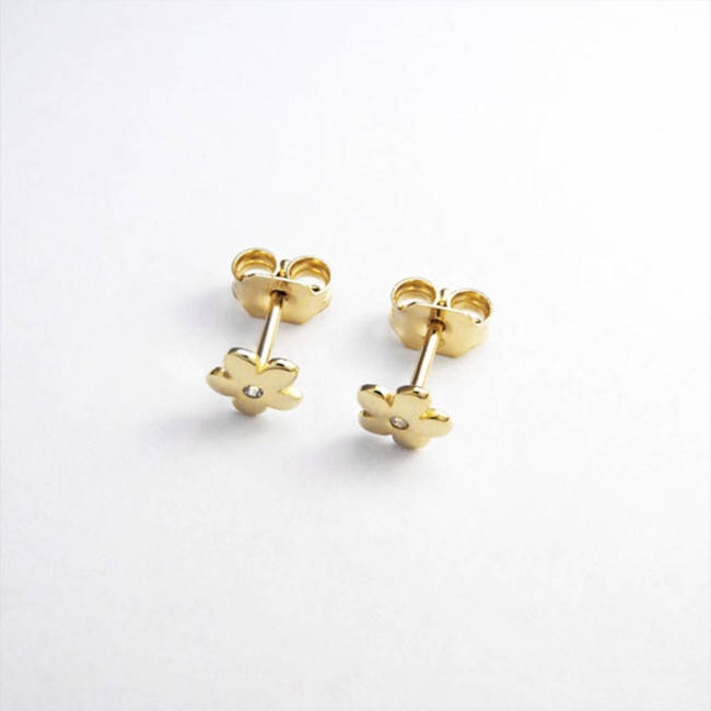 flower studs yellow solid gold