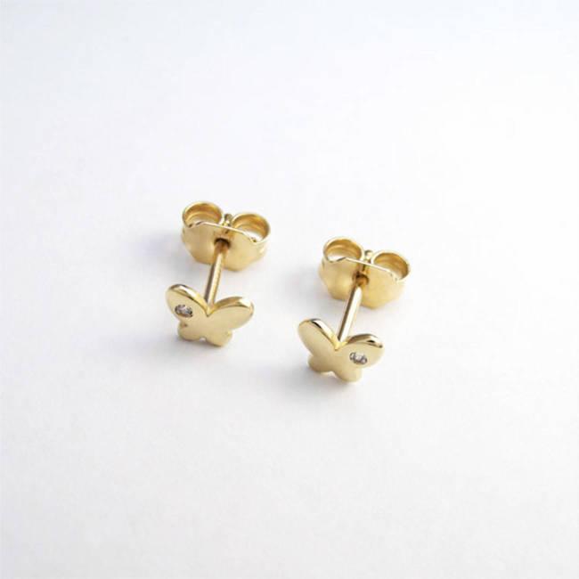 uhani metuljčki cirkon rumeno zlato patenti