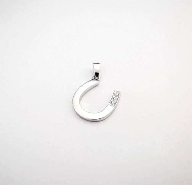 obesek podkvica trije diamanti